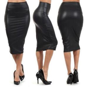 9d05fdd49 Detalles de Mujer Cintura Alta Efecto Mojado Falda Media Pierna Piel  Sintética Elástico