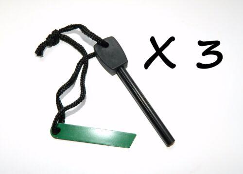 3 X Flint Magnesium Fire Striker/Starter - Scrapable Magnesium + Thin Solid Rod