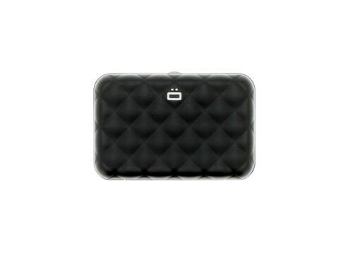Ogon Designs Quilted Button Aluminum Wallet Card Case BLACK NEW from France