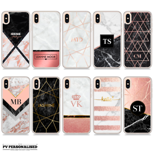 separation shoes dbd31 d3e36 Details about PERSONALISED NAME INITIALS ROSE GOLD MARBLE PHONE CASE FOR  IPHONE X XR XS Max