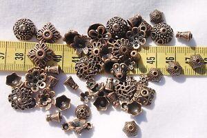 Tibetan-Style-Bead-Caps-Mixed-Shape-Red-Copper-8-20mm-in-Diameter-1oz