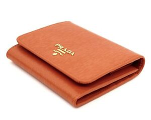 a59d71edd1f0 Prada Wallet Trifold Vitello Move Leather Orange New 8058982211978 ...