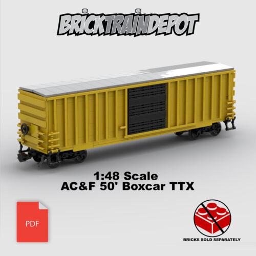 Custom Lego Train 1:48 Scale AC/&F 50/' Boxcar TTXInstructions ONLY-w//Decals