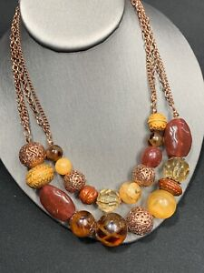 """Vintage Copper Tone Two Strand Drop Layered Necklace Brown Tan Fall Color 18"""""""