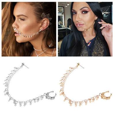 Nose Rings And Studs Earrings Piercing Tassel Chain Women Girl