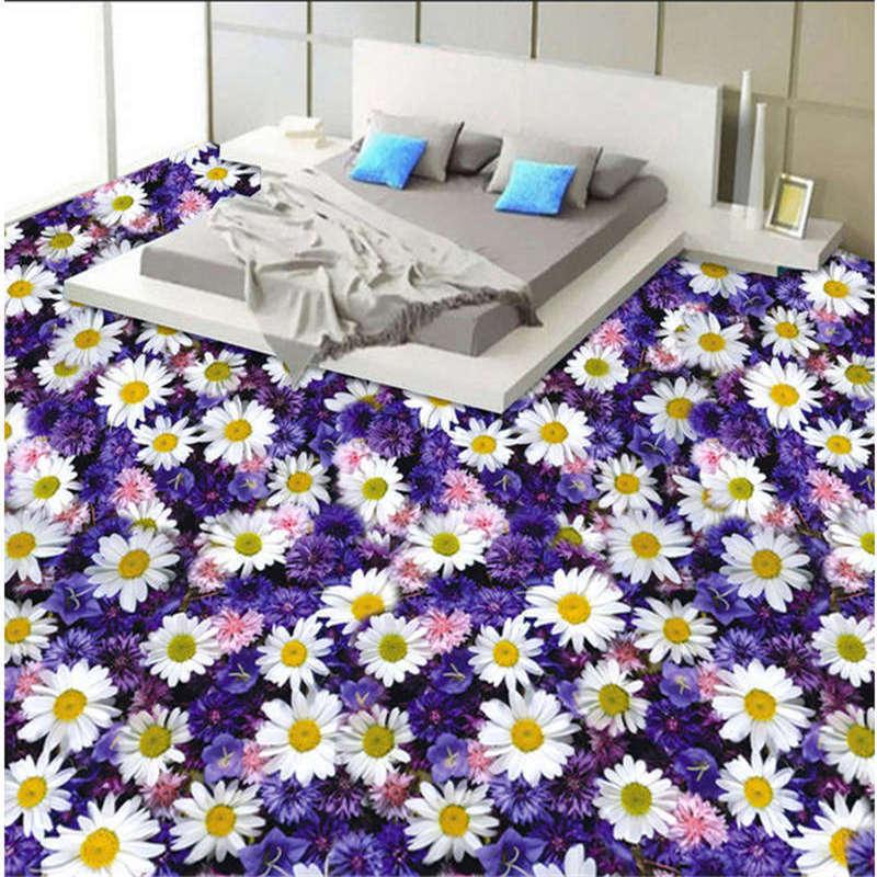 Flowers of the bluee Sea 3D Floor Mural Photo Flooring Wallpaper Home Printing
