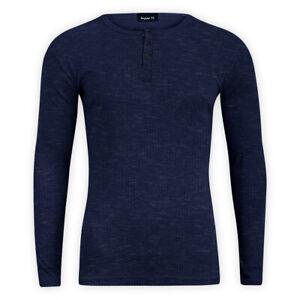 Men-Cotton-Casual-Ribbed-Top-Navy-Long-Sleeve-Crew-Neck-Regular-T-Shirt-Sweater