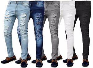 Mens-Skinny-Jeans-Ripped-Slim-fit-Stretch-Denim-Distress-Frayed-Biker-Jeans-Boys