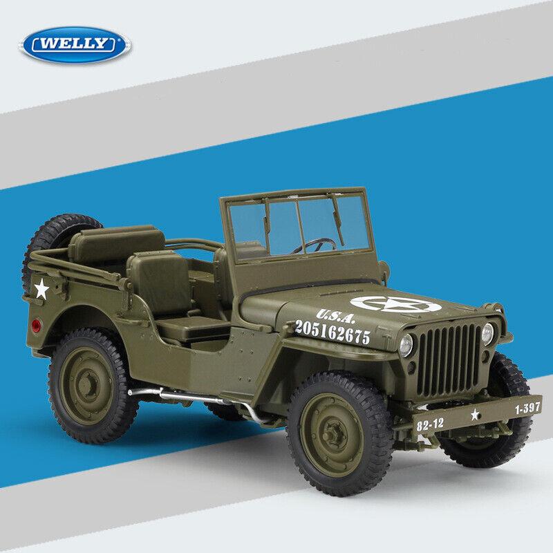 1941 Jeep Willys MB Segunda Guerra Mundial Modelo Diecast Coleccionable 1 18 militar estadounidense con Estuche Toys