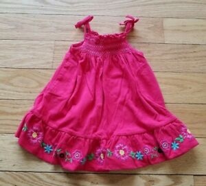 Girls-BABY-GAP-Pink-Smocked-SUMMER-DRESS-Embroidered-Flowers-Sz-3-6-M