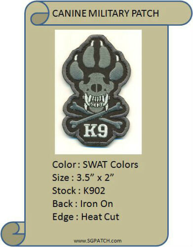 K902 CANINE SWAT DOG VEL-KRO PATCH