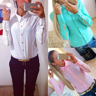 Fashion Women Chiffon Shirt Long Sleeve Button Down Casual Tops Blouse Pop