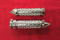Chrome Grips Solid With Twisted Ends & Diamond Cut For 2008-2016 Suzuki Hayabusa