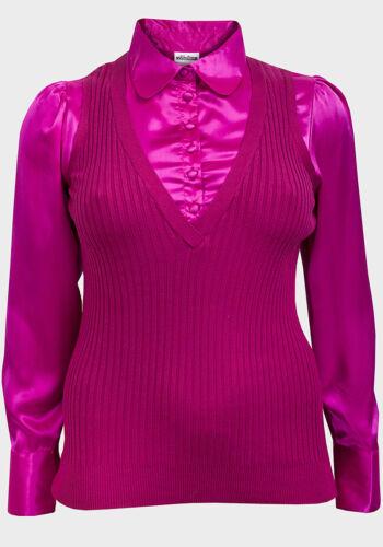 Nouveau femmes élégant à manches longues 2in1 chemisier pull gris rose tailles plus