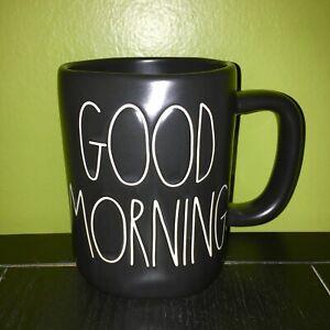 New-RAE-DUNN-Artisan-Collection-LL-034-GOOD-MORNING-034-Black-Mug-By-Magenta
