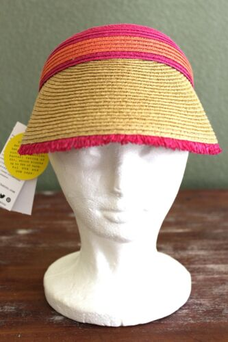 Colorblocked Frayed O//S  Natural//Pink Retail $24 AUGUST HAT Visor UPF 50