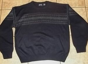 Mens PURITAN~ Navy BLUE SWEATER~size LARGE~NEW~Striped SKI Knit Top~NWOT