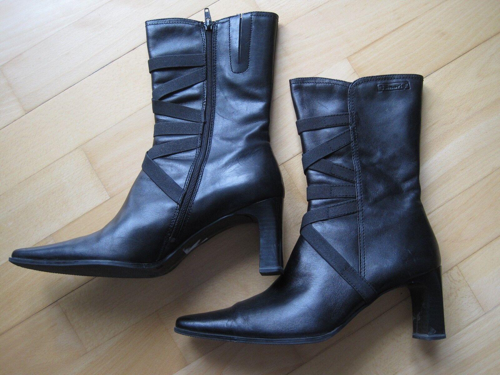 TAMARIS Stiefeletten schwarz Gr. 41 Leder nwtg