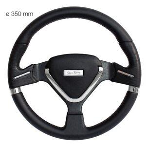 Simoni-Racing-Volante-Universale-Montecarlo-in-Ecopelle-Nera-da-350-mm