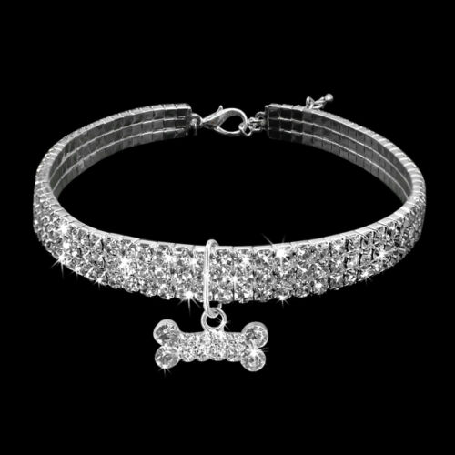 Pearl Dog Necklace Crystal Rhinestone Bling Pet Collar for Chihuahua Terrier