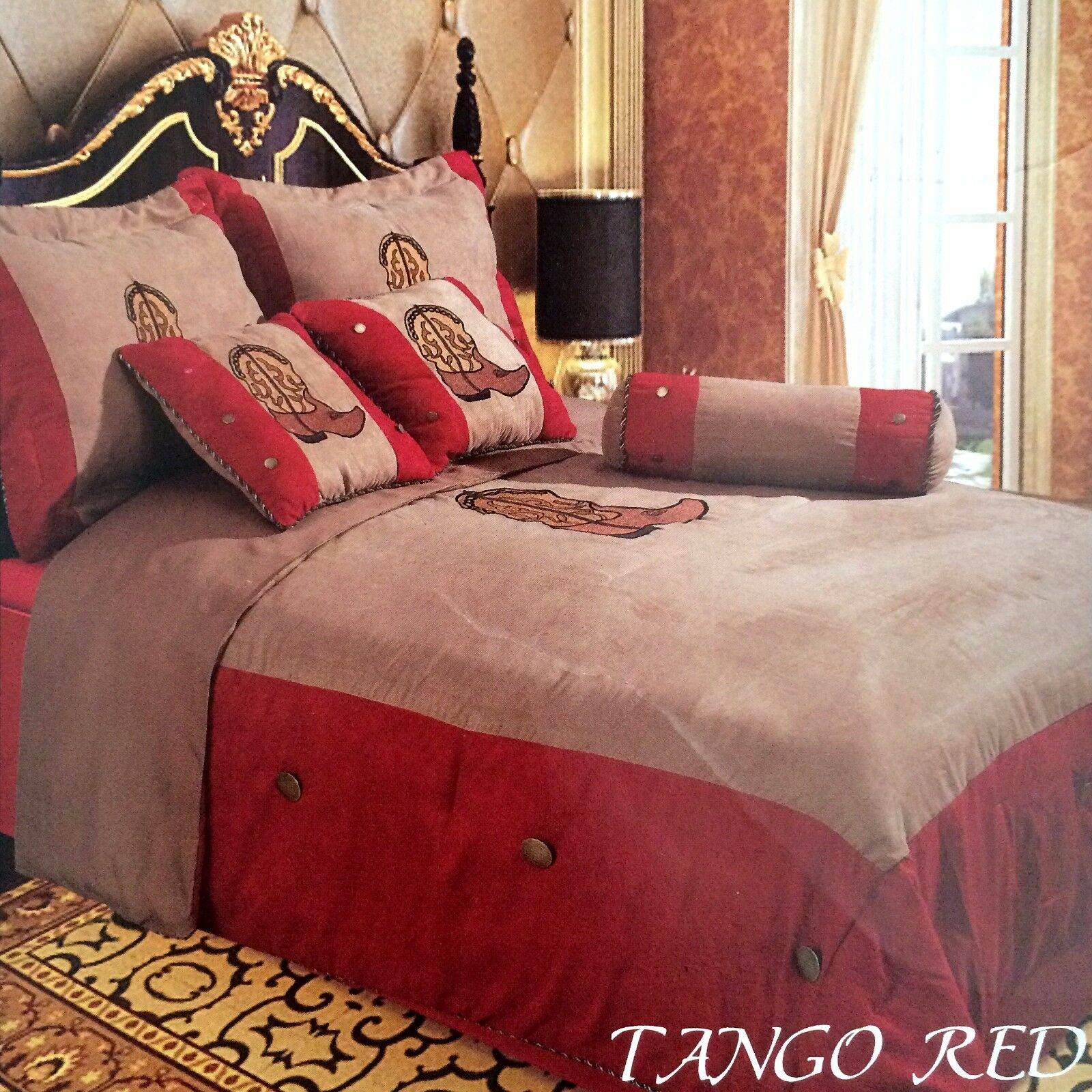 Embroidery Printed Texas Western Boots Luxury Comforter Suede 7 Pieces Set Queen