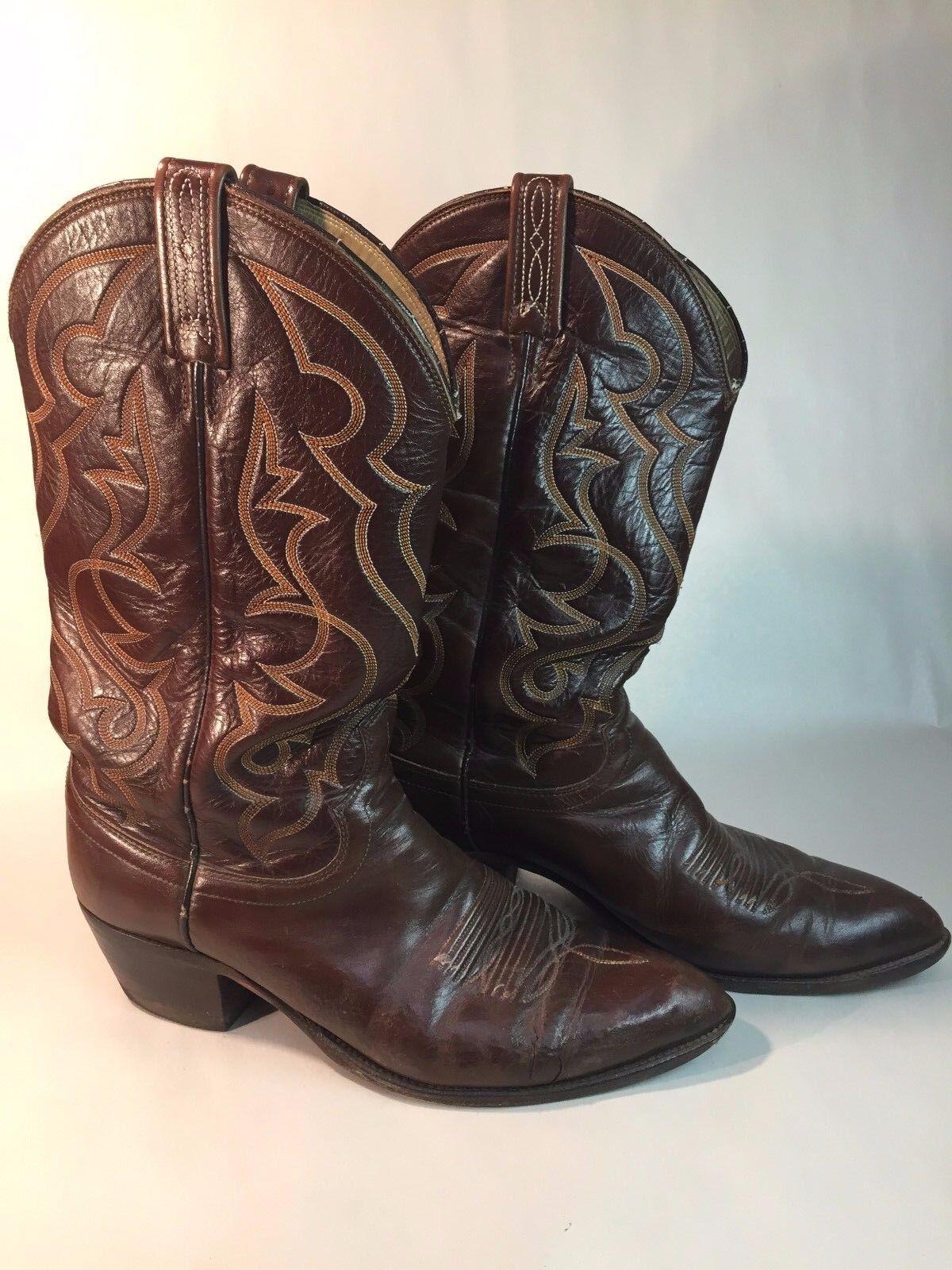 Pair of Vintage Retro Dan Post Post Post Western braun Leather Cowboy Stiefel Größe 10 D 3d35e2