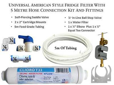 5M Complete Hose Connection Kit For American Fridge Freezer Water Filters 445
