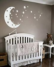 Vinyl Wall Decor Stickers Mural Moon Stars Nursery Kids Room White Baby New