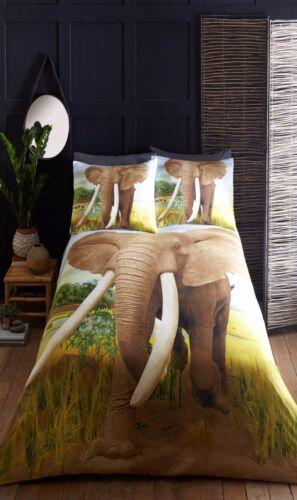 KING SIZE DUVET COVER SET AFRICAN ELEPHANT ANIMAL PRINT 100/% POLYESTER