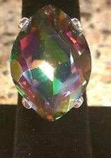 Rainbow Mystic Topaz Natural 31 Ct.. 925 Sterling Silver Ring Size 6.