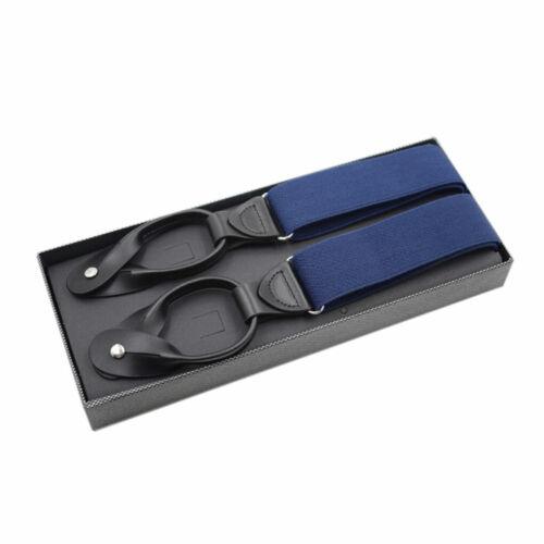 Men Boxed Button Adult Strap Adjustable  Suspender Elastic Leather Braces