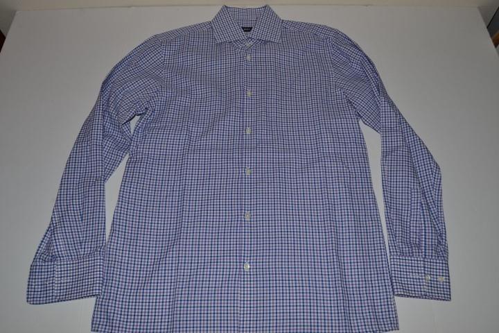 HUGO BOSS SHARP FIT blueE PURPLE PLAID DRESS SHIRT MENS SIZE 15 33