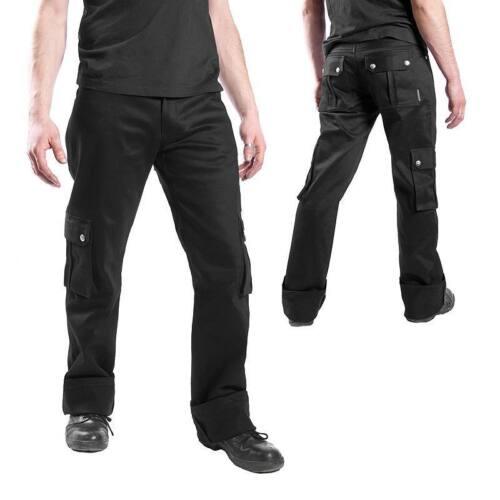 NEU /& OVP 100/% Baumwolle Seitentaschen /& Druckknöpfen Gothic Hose im BW-Look