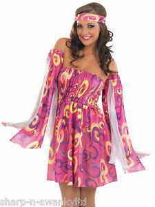 promo code 39b18 bd7ac Dettagli su Da Donna Rosa Hippie Hippy 1960s Anni '60 Costume Vestito 8-26  Taglie Forti