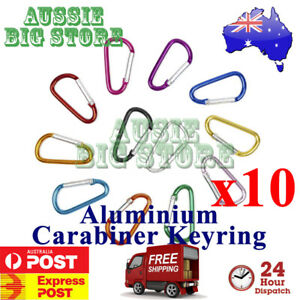 Carabiner Clip Key Ring Holder Cables Hiking Hook Lock Camp Camping D Shape Gift