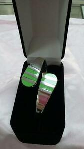 Bangle-925-Sterling-Silver-Green-Stone-Detail-Unique-Design-Womens-HandCrafted