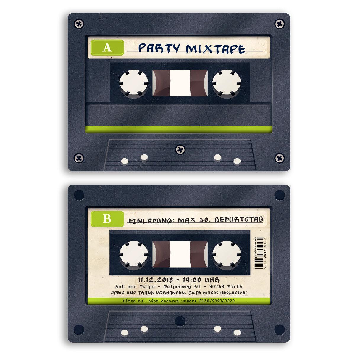 Einladungskarten zum Geburtstag Kassette Einladung Musikkassette Musik Walkman | Creative  | Genial Und Praktisch