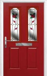 2 Panel 2 Arch English Rose Composite Front Door in Red Various sizes
