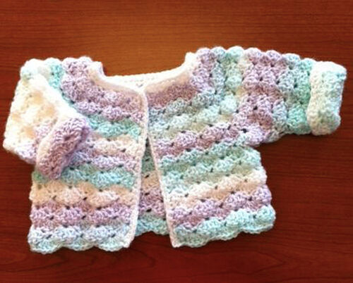"20/"" can be made smaller Baby Girls Cardigan PO098 Crochet Pattern"