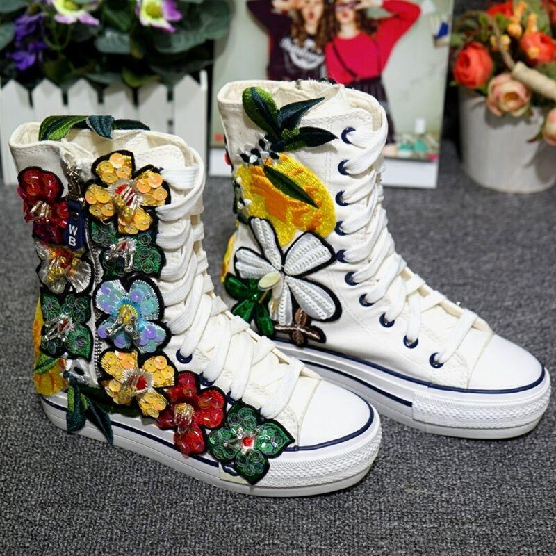 Rhinestone Rhinestone Rhinestone Floral Lentejuelas Tacón Bajo Cremallera Lateral Altas Con Cordones Zapatos De Lona Para mujeres EE. UU.  encuentra tu favorito aquí