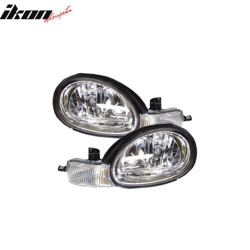 Fits 00-01 Dodge Neon RH LH Headlights /& Chrome