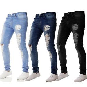 Men-Ripped-Skinny-Jeans-Destroyed-Frayed-Biker-Slim-Denim-Pant-Trouser-Zipper-CA