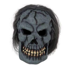 100% Vrai Crâne Masque Avec Cheveux, Halloween, Robe Fantaisie-afficher Le Titre D'origine Performance Fiable