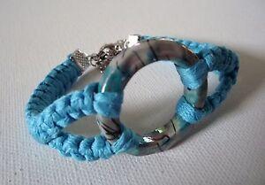 Bracelet,Macrame,bleu,Turquoise,Femme,chainette,de,securite,