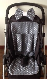 GREY WHITE DOTTY PRAM LINER PADDED BOW HARNESS COVERS BUGGY POLKA SPOTS