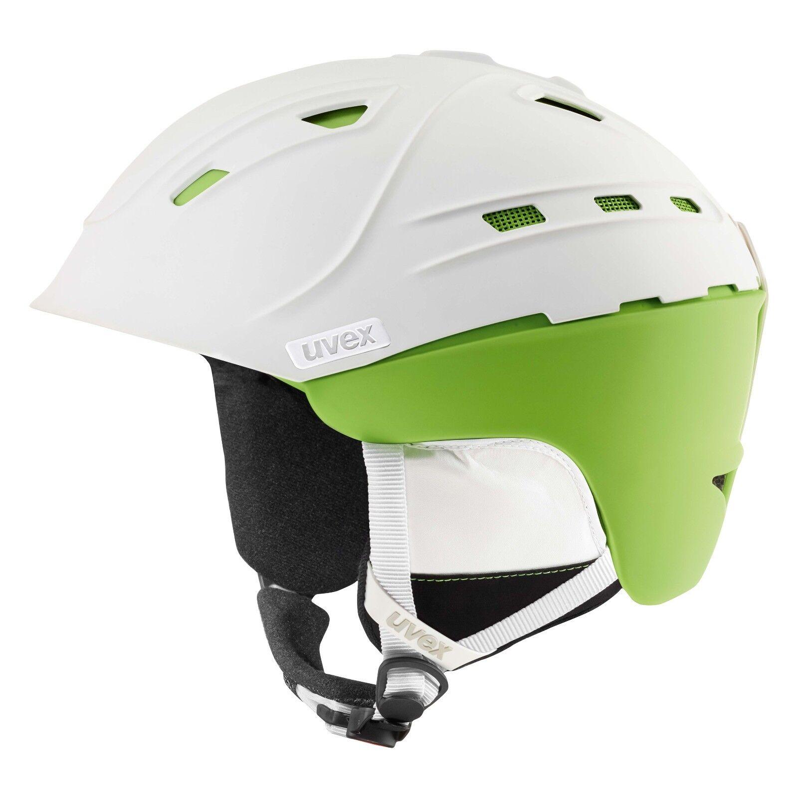 NEW UVEX P2US SKI SNOWBOARD HELMET WHITE GREEN  MATTE 51-55 S, 55-59 M, 59-61 L  healthy