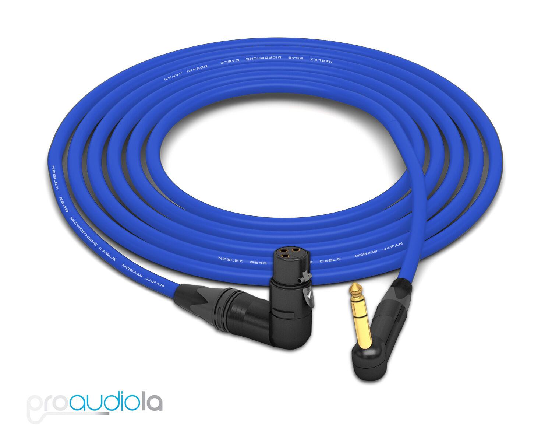 Mogami 2549 Cable   Neutrik gold 90º XLR-F to 90º TRS   bluee 6 Feet 6 ft.