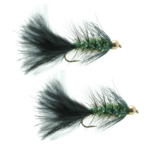Umpqua Gold Bead Crystal Bugger Black 2 Pack Streamer Fly Fishing Flies