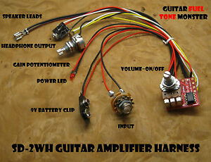 TONE-MONSTER-SD2WH-NO-SOLDER-Guitar-Amp-Harness-2W-Volume-Gain-HDPH-Cigar-Box