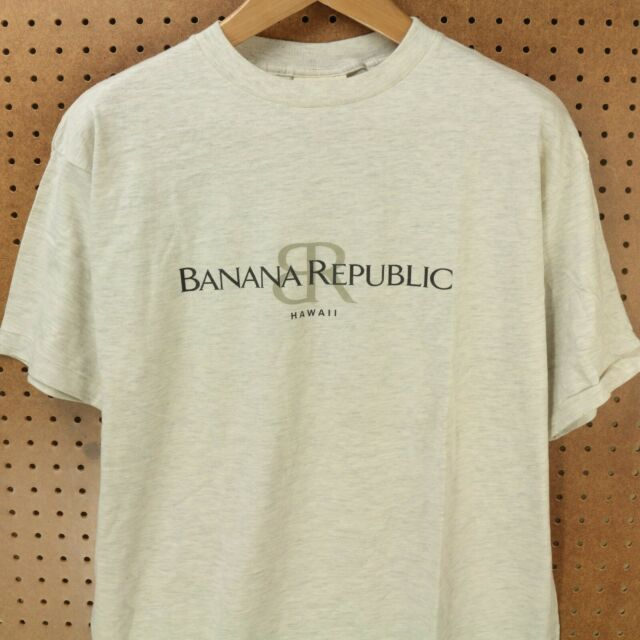 vtg 80s 90s usa made BANANA REPUBLIC hawaii t-shirt MEDIUM single stitch gray